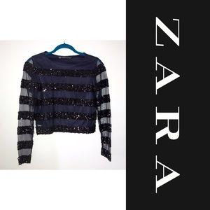 Zara Sequined black long sleeves top